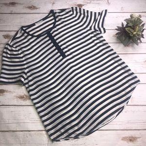 EQUIPMENT • Navy/White Silk Stripe blouse- L